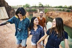 D'amis de voyage de vacances d'aventure concept ensemble Images libres de droits