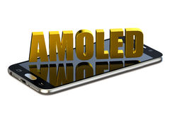 3D AMOLED concept with smartphone. AMOLED concept with smartphone on white background Royalty Free Stock Photography