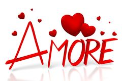 3D amore - love in Italian. 3D graphics with red hearts on white background - great for topics like Valentine's Day, love, dating etc Royalty Free Stock Images