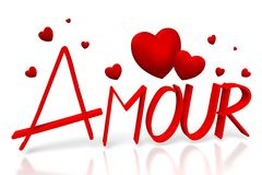 3D amour - love in French. 3D graphics with red hearts on white background - great for topics like Valentine's Day, love, dating etc Stock Photos