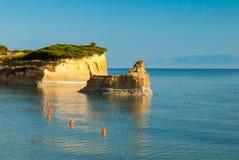 D'amour Sidari, isla del canal de Corfú en Grecia Canal de amor imagenes de archivo