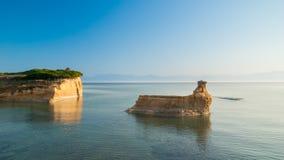 D'amour Sidari, isla del canal de Corfú en Grecia Canal de amor foto de archivo libre de regalías