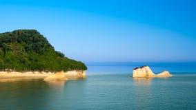 D'amour Sidari, isla del canal de Corfú en Grecia Canal de amor imágenes de archivo libres de regalías