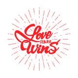 D'amour texte de victoire-lettrage toujours Badge dessiné à la main, utilisant les qualifications de la calligraphie et, rassembl Image stock