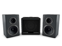 3d amplifier and speaker. On white background Royalty Free Stock Images