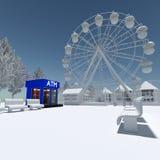 3d amusement park. 3d building a theme park in the background Stock Image