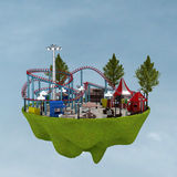 3d amusement park. 3d building a theme park in the background Stock Photo