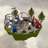 3d amusement park. 3d building a theme park in the background Royalty Free Stock Photo