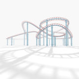 3d amusement park. 3d roller coaster in the background white Stock Images