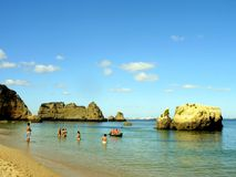 D.Ana Beach. And sea in the city of Lakes (Lagos), Algarve, Portugal stock images