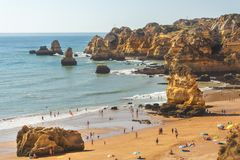 d Ana plaża, Lagos Portugalia zdjęcie stock