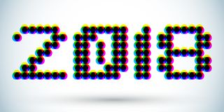 2018 3D anaglyph effect design, Dotted numbers illustration Royalty Free Stock Photography