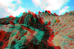 3D Anaglyph, geologic strata. Segovia province. Taken with Canon EOS 400D and processed with Adobe Photoshop CS5 Royalty Free Stock Images