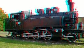 3D anaglyph Svart gammal lokomotiv fotografering för bildbyråer