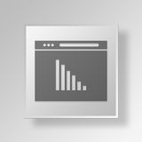 3D Analytics Web Browser icon Business Concept. 3D Symbol Gray Square Analytics Web Browser icon Business Concept Royalty Free Stock Image