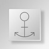 3D Anchor icon Business Concept. 3D Symbol Gray Square Anchor icon Business Concept Stock Image