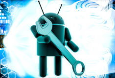 3d android symbol with wrench illustration Royalty Free Stock Photos