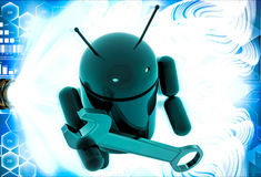 3d android symbol with wrench illustration Stock Photography