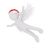 3d angel with wings flying through the air. 3d angel with wings wearing a festive red santa hat flying through the air with outstretched arms in a christmas Stock Photography