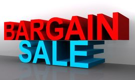 Bargain sale. 3D angled words BARGAIN in red on top and SALE in blue on the bottom stacked on top of one another on a gray reflective base and white background Stock Image