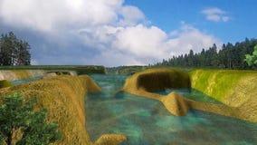3d animó el paisaje de la caída de la nieve del bosque, del lago y de luz libre illustration