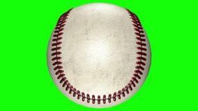 3D animación, bola del béisbol que da vuelta en centro del fondo transparente metrajes
