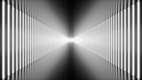 3D animación colocada, pasillo blanco futurista del extracto inconsútil, túnel con las luces de neón Luz que brilla intensamente  almacen de metraje de vídeo