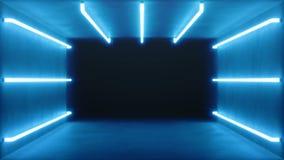 3D animaci?n colocada, interior azul abstracto incons?til del sitio con las l?mparas de ne?n que brillan intensamente azules, l?m