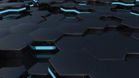 3D animacja czarni sześciokąty wzrasta w górę i na dół royalty ilustracja