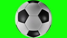 3D animacja, klasyczny piłki nożnej piłki przędzalnictwo w centrum ekran ilustracja wektor