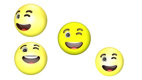 3D animacja mrugać i ono uśmiecha się, wiruje żółtego emoji ilustracji