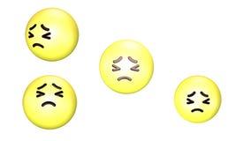 3D animacja nieszczęśliwy przędzalnictwo skokowy żółty emoji i royalty ilustracja