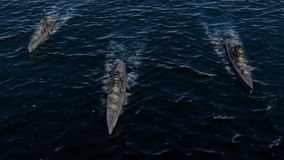 3d animacja pancernik flota w otwartym oceanie z dużą prędkością