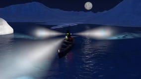3d animacja pancernik w Arktycznym oceanie nocą