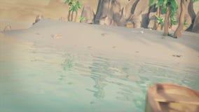 3D animacja, piraci żegluje wyspa na małej łódce ilustracja wektor