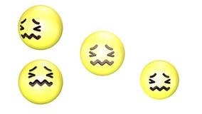 3D animacja prawie płakać obracalnego i skokowego żółtego emoji ilustracji