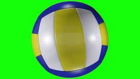 3D animacja, siatkówki balowy wirować wyprostowywać na zielonym parawanowym tle ilustracji