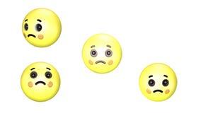 3D animacja smutnego obracającego się i skaczącego żółtego emoji ilustracji