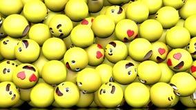 3D animacja spadać na nawierzchniowym ogólnospołecznym sieci emoji ilustracji