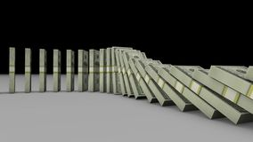 3D animacja stos dolarów amerykańskich banknotów spada puszek i wykonuje inny jeden jak domino w 4k HD ultra royalty ilustracja