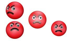 3D animacja zła obracającego się i skaczącego czerwonego gniewu emoji royalty ilustracja