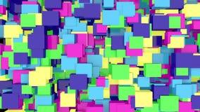 3D animacji abstrakcjonistyczny tło kolorowi sześciany wzrasta w górę i na dół royalty ilustracja