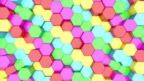 3D animacji abstrakcjonistyczny tło kolorowi sześciokąty wzrasta w górę i na dół ilustracja wektor