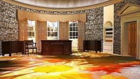 08 3D animaram o interior da grande sala luxuosa com mobília antiga ilustração stock
