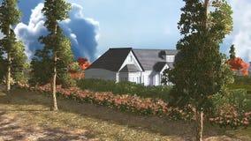 04 3D animaron la vista panorámica de la casa y de la tierra ilustración del vector