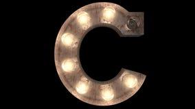 Rusty steel Burlesque Light Bulb text C