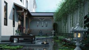 3d animatie van de traditionele tuin van het oosten stock video