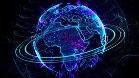 3d animatie van een groeiend netwerk over de wereld - blauwe versie royalty-vrije illustratie