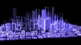 3D animatie van een holografische stad stock illustratie