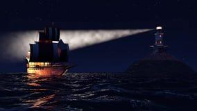 3D Animatie van een oud houten oorlogsschip die 's nachts dicht bij vuurtoren varen royalty-vrije illustratie